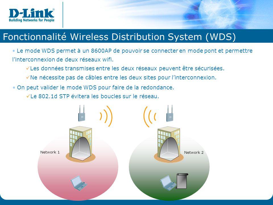 Fonctionnalité Wireless Distribution System (WDS) Le mode WDS permet à un 8600AP de pouvoir se connecter en mode pont et permettre l'interconnexion de