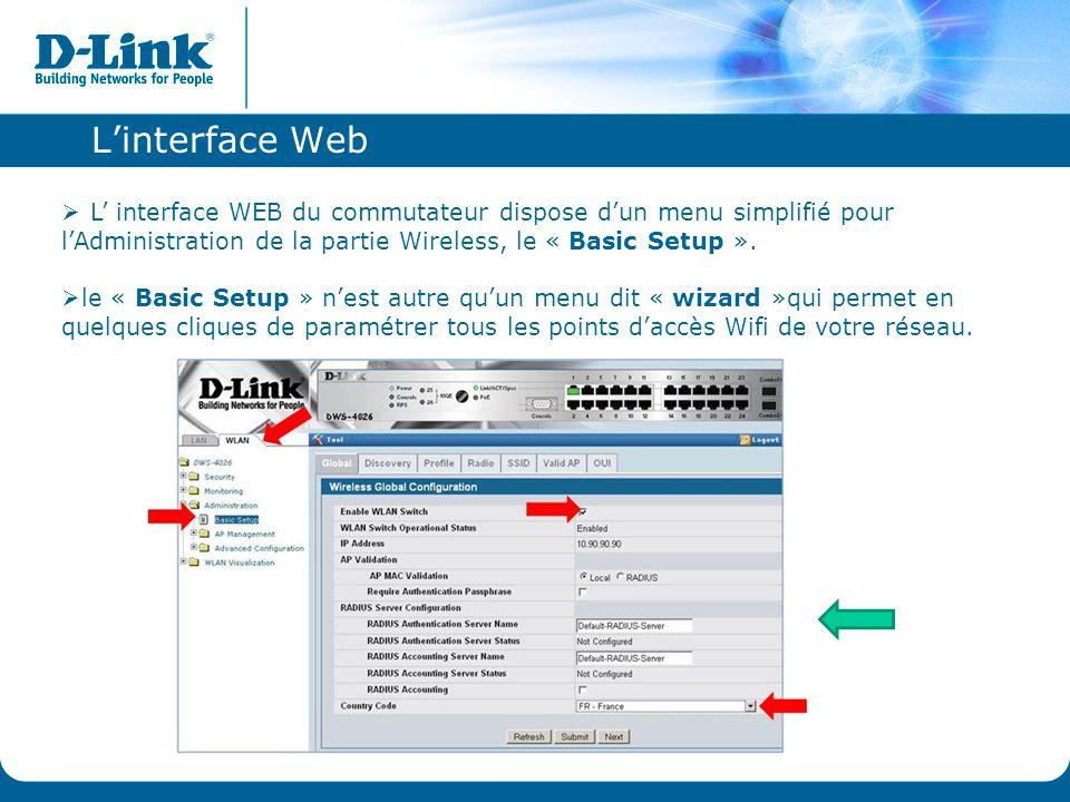 L'interface Web  L' interface WEB du commutateur dispose d'un menu simplifié pour l'Administration de la partie Wireless, le « Basic Setup ».  le «