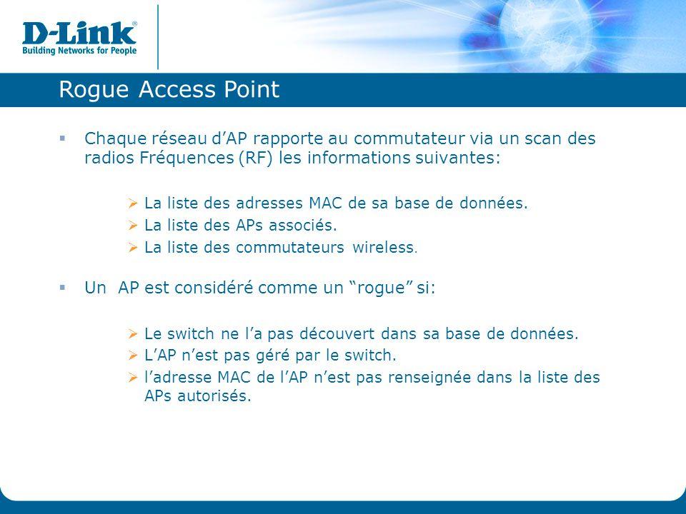 Rogue Access Point  Chaque réseau d'AP rapporte au commutateur via un scan des radios Fréquences (RF) les informations suivantes:  La liste des adre