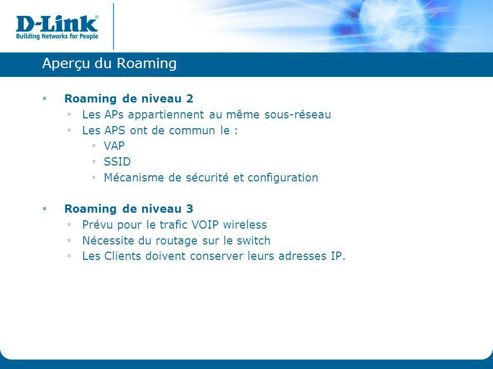 Aperçu du Roaming  Roaming de niveau 2  Les APs appartiennent au même sous-réseau  Les APS ont de commun le :  VAP  SSID  Mécanisme de sécurité