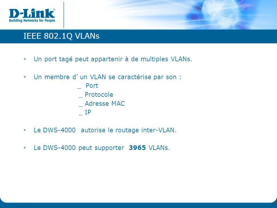 IEEE 802.1Q VLANs  Un port tagé peut appartenir à de multiples VLANs.  Un membre d' un VLAN se caractérise par son : _ Port _ Protocole _ Adresse MA