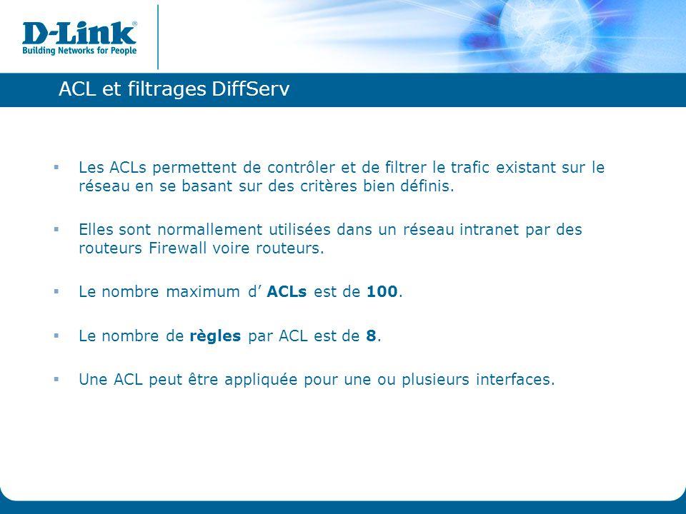 ACL et filtrages DiffServ  Les ACLs permettent de contrôler et de filtrer le trafic existant sur le réseau en se basant sur des critères bien définis