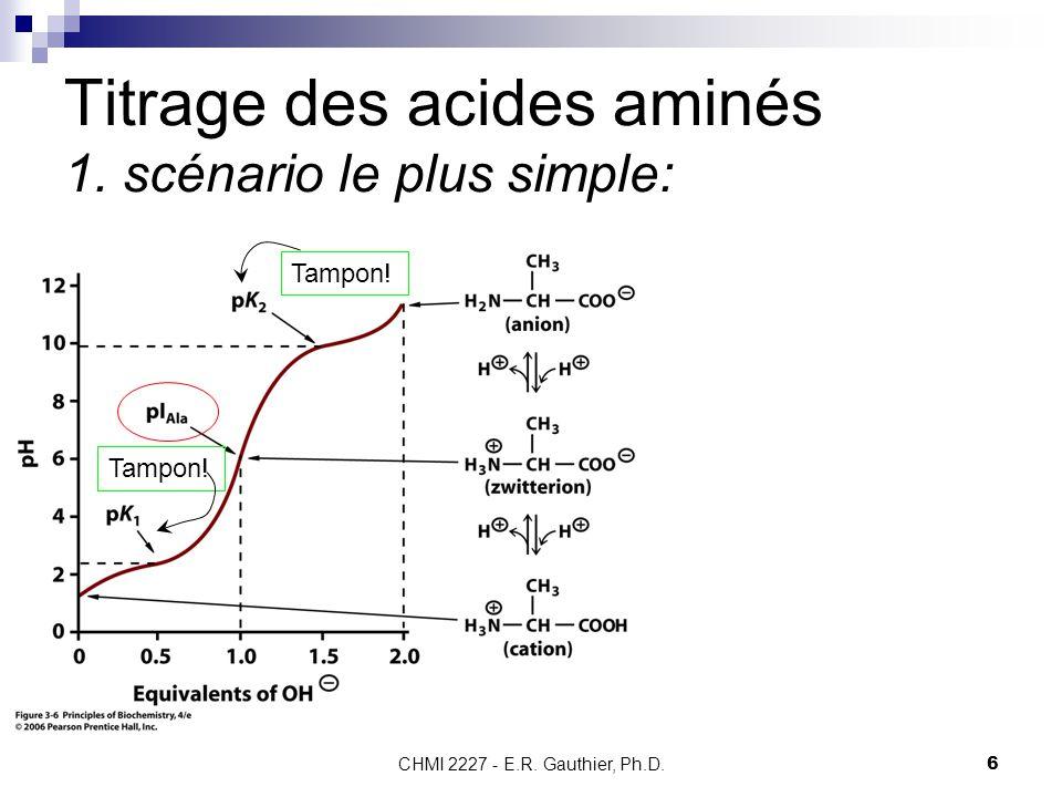 CHMI 2227 - E.R. Gauthier, Ph.D.6 Titrage des acides aminés 1. scénario le plus simple: Tampon!