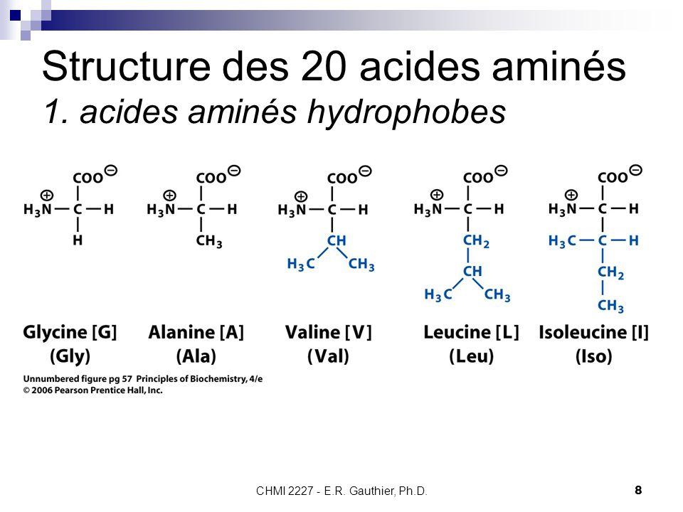 CHMI 2227 - E.R. Gauthier, Ph.D.8 Structure des 20 acides aminés 1. acides aminés hydrophobes
