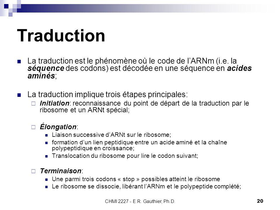 CHMI 2227 - E.R. Gauthier, Ph.D.20 Traduction La traduction est le phénomène où le code de l'ARNm (i.e. la séquence des codons) est décodée en une séq