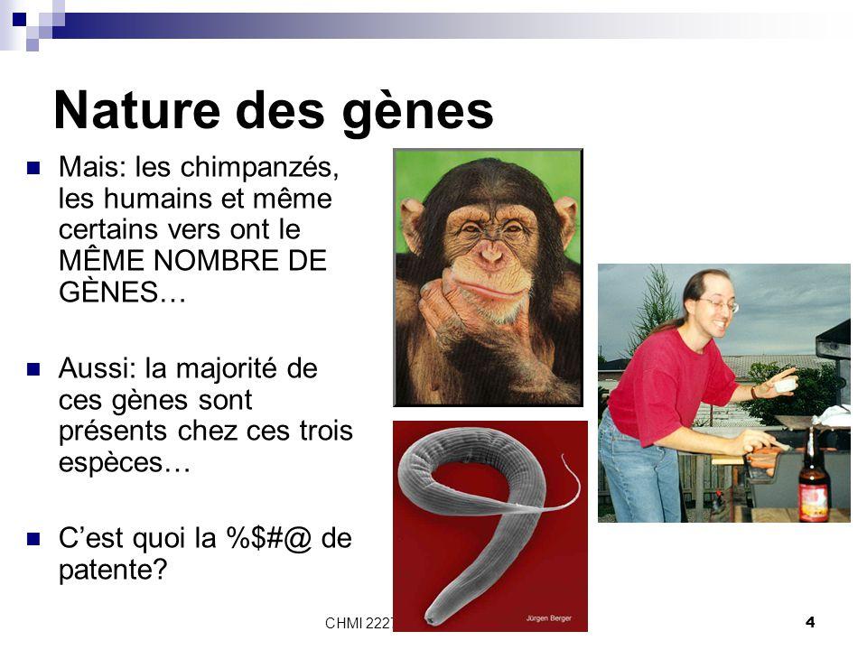 CHMI 2227 - E.R. Gauthier, Ph.D.4 Nature des gènes Mais: les chimpanzés, les humains et même certains vers ont le MÊME NOMBRE DE GÈNES… Aussi: la majo