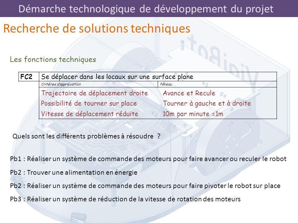 Démarche technologique de développement du projet Les fonctions techniques Recherche de solutions techniques FC2Se déplacer dans les locaux sur une su