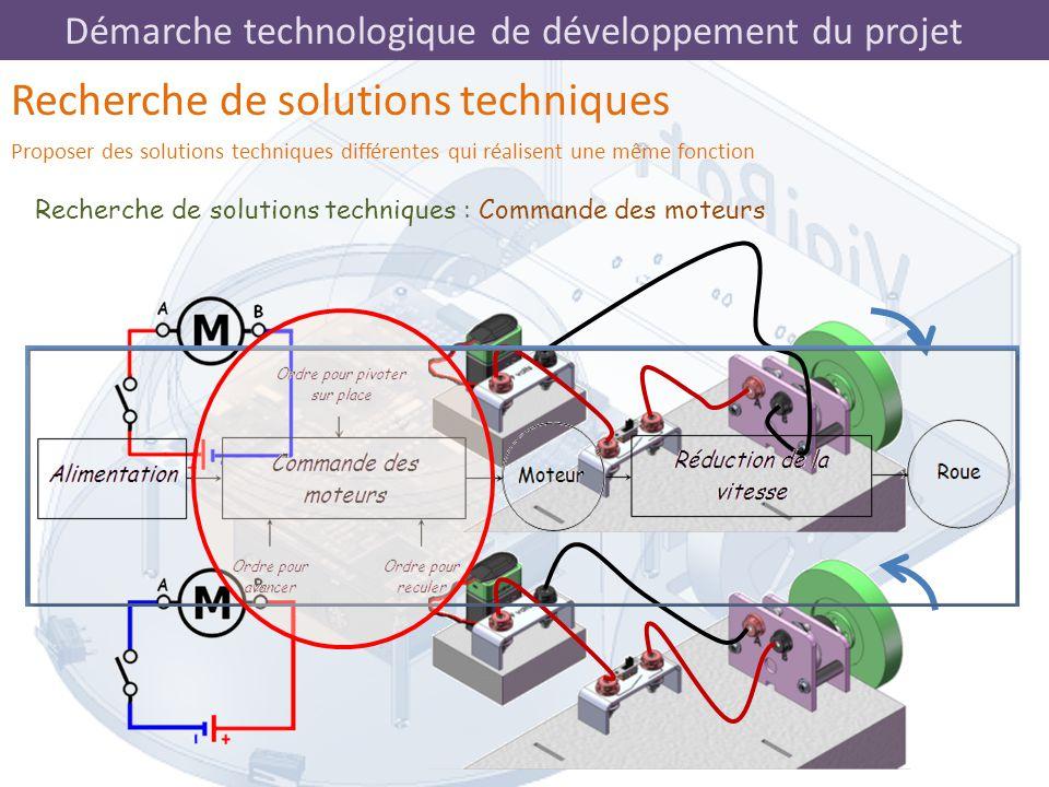 Démarche technologique de développement du projet Recherche de solutions techniques : Commande des moteurs Recherche de solutions techniques Proposer