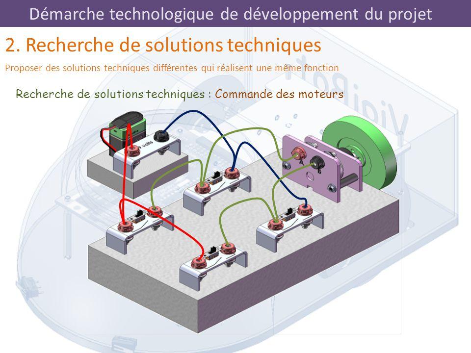 Démarche technologique de développement du projet Recherche de solutions techniques : Commande des moteurs 2. Recherche de solutions techniques Propos
