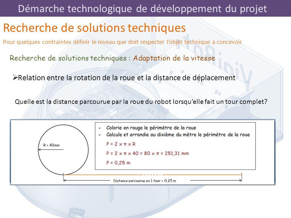 Démarche technologique de développement du projet Recherche de solutions techniques : Adaptation de la vitesse Recherche de solutions techniques Pour
