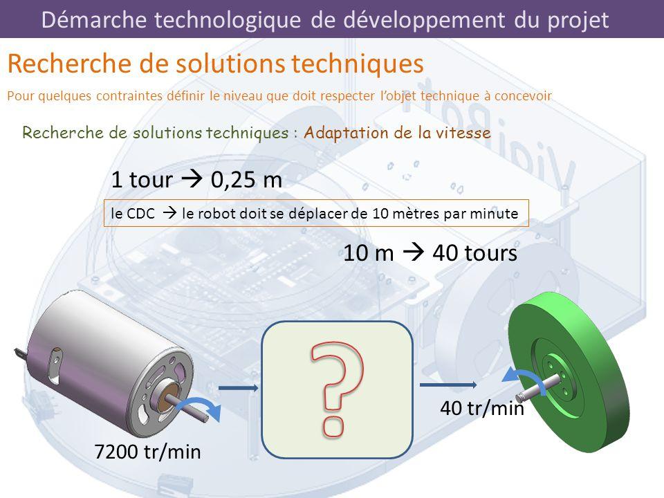 Démarche technologique de développement du projet 1 tour  0,25 m Recherche de solutions techniques : Adaptation de la vitesse Recherche de solutions
