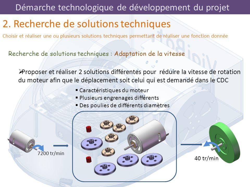 Démarche technologique de développement du projet Recherche de solutions techniques : Adaptation de la vitesse 2. Recherche de solutions techniques Ch