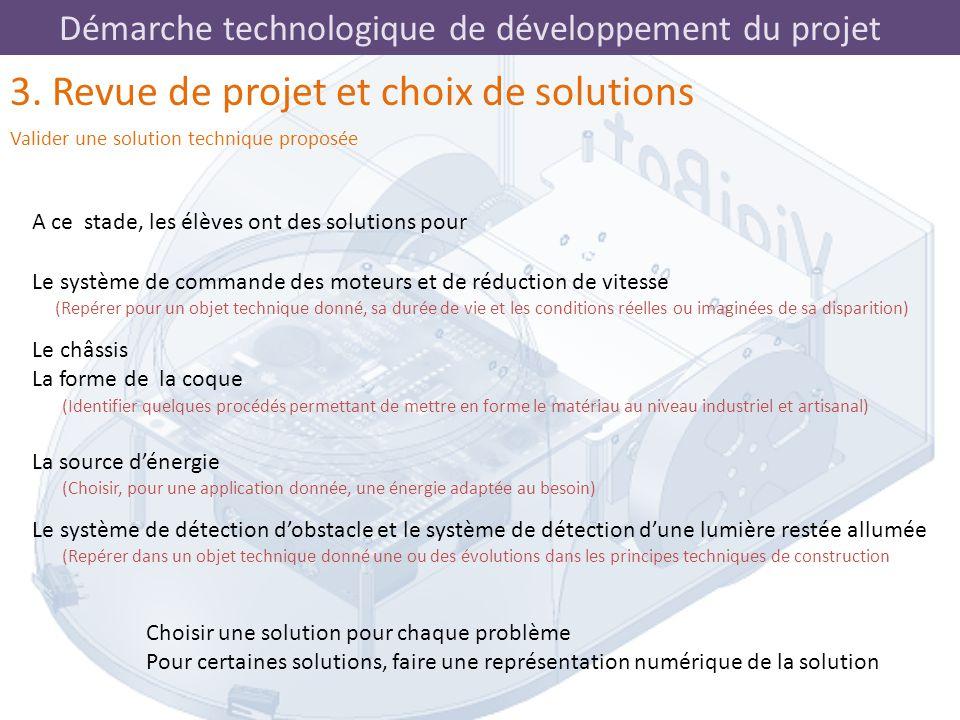 Démarche technologique de développement du projet 3. Revue de projet et choix de solutions Valider une solution technique proposée A ce stade, les élè