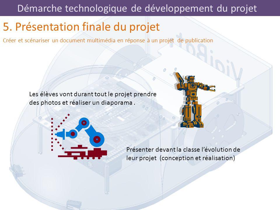 Démarche technologique de développement du projet 5. Présentation finale du projet Créer et scénariser un document multimédia en réponse à un projet d