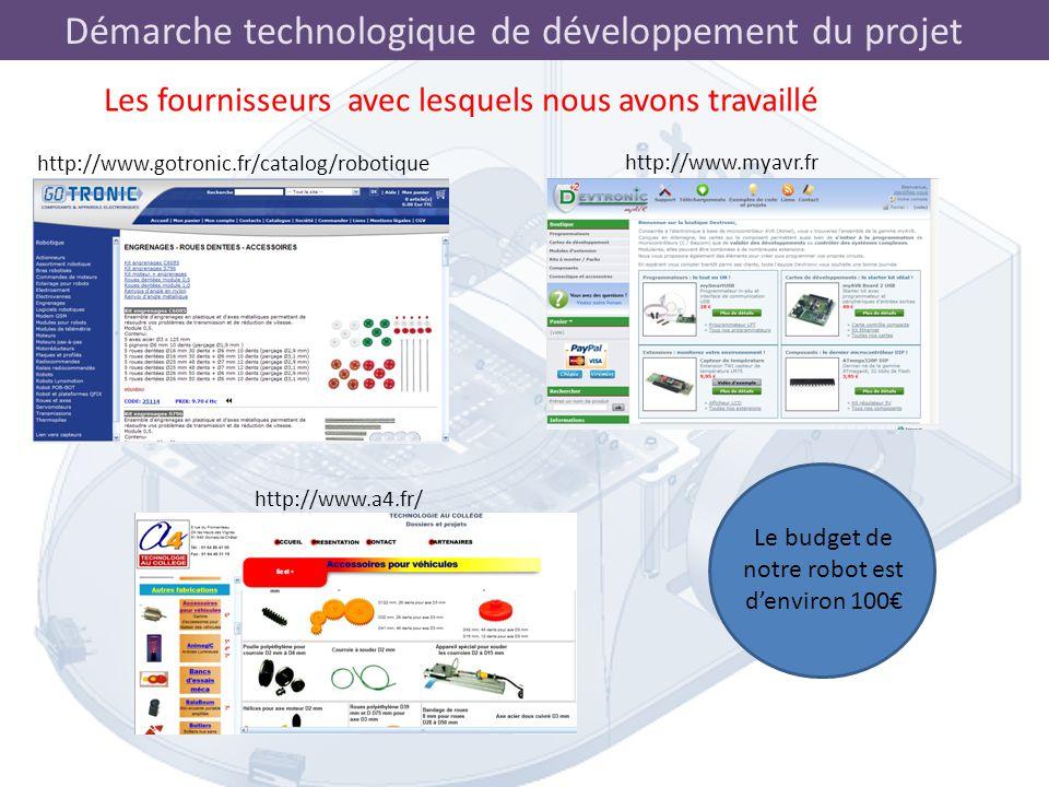 Démarche technologique de développement du projet Les fournisseurs avec lesquels nous avons travaillé http://www.gotronic.fr/catalog/robotique http://