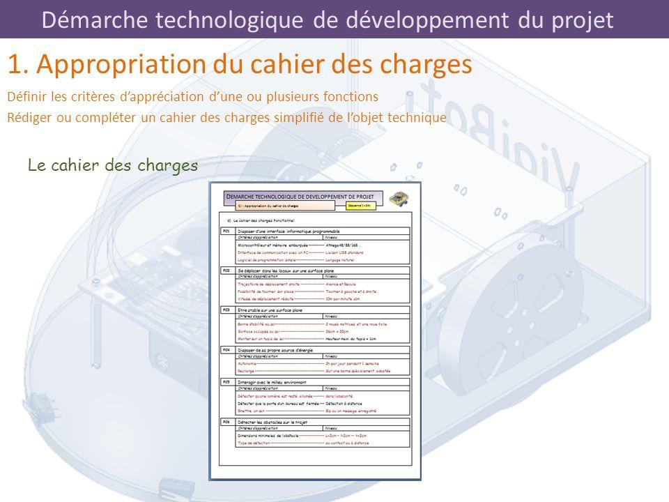 Démarche technologique de développement du projet Le cahier des charges 1. Appropriation du cahier des charges Définir les critères d'appréciation d'u