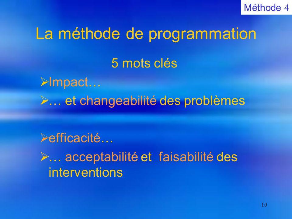 10 La méthode de programmation  5 mots clés  Impact…  … et changeabilité des problèmes  efficacité…  … acceptabilité et faisabilité des interventions Méthode 4