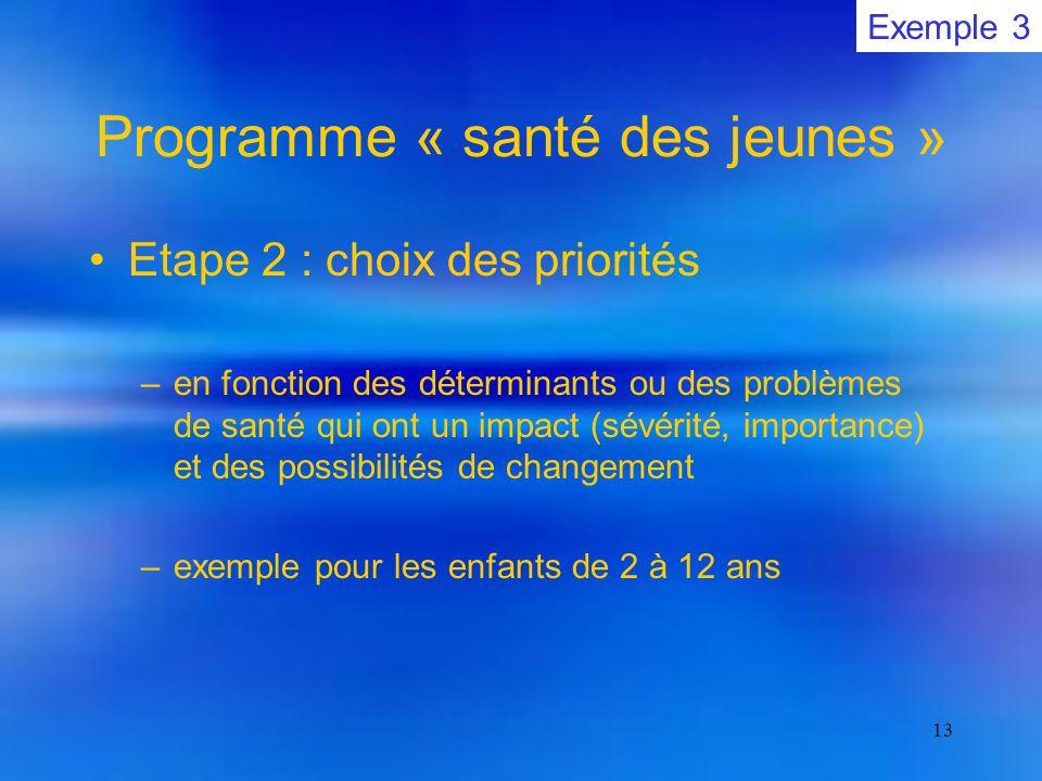 13 Programme « santé des jeunes » Etape 2 : choix des priorités –en fonction des déterminants ou des problèmes de santé qui ont un impact (sévérité, importance) et des possibilités de changement –exemple pour les enfants de 2 à 12 ans Exemple 3