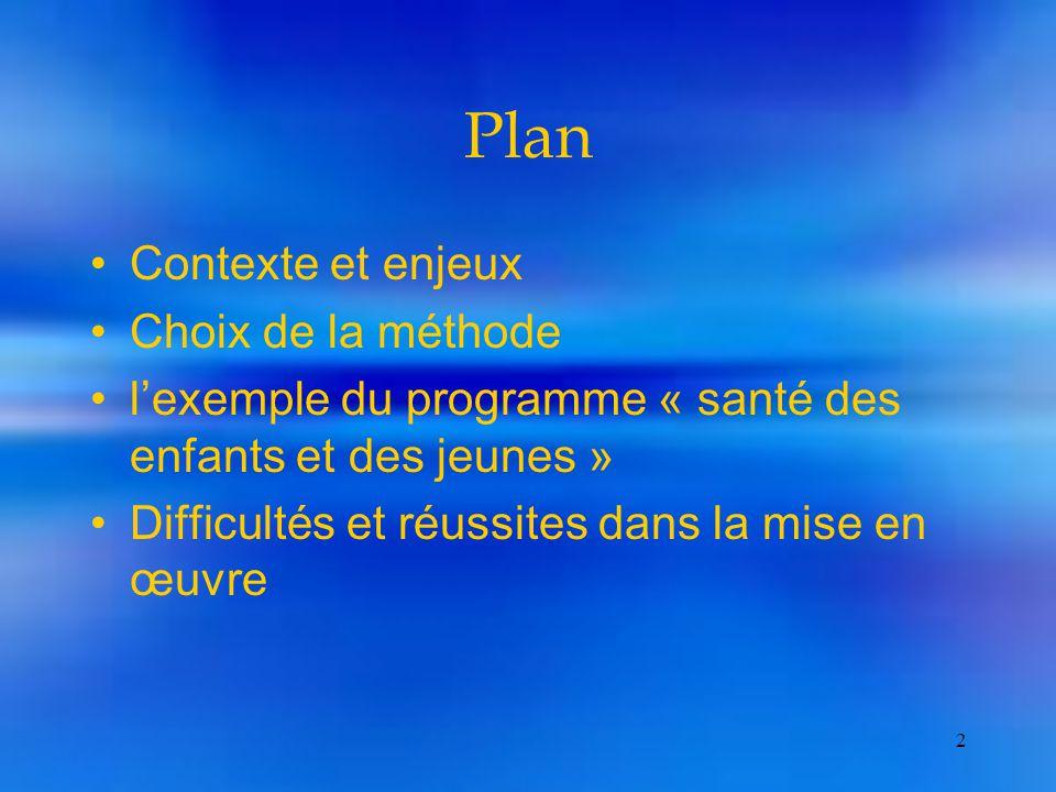 2 Plan Contexte et enjeux Choix de la méthode l'exemple du programme « santé des enfants et des jeunes » Difficultés et réussites dans la mise en œuvre