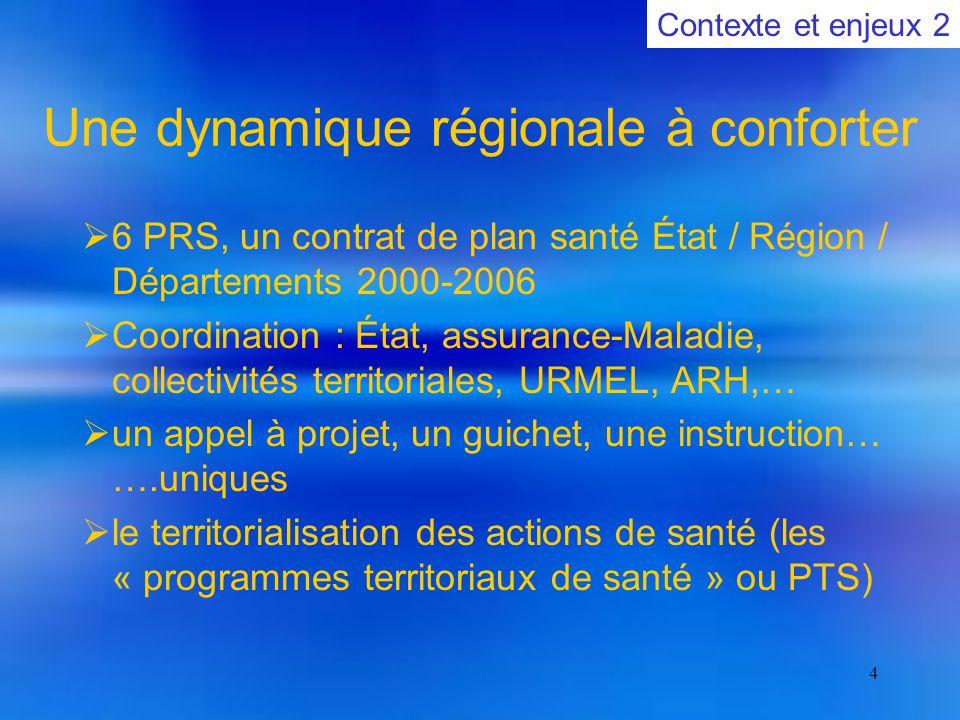 4 Une dynamique régionale à conforter  6 PRS, un contrat de plan santé État / Région / Départements 2000-2006  Coordination : État, assurance-Maladie, collectivités territoriales, URMEL, ARH,…  un appel à projet, un guichet, une instruction… ….uniques  le territorialisation des actions de santé (les « programmes territoriaux de santé » ou PTS) Contexte et enjeux 2