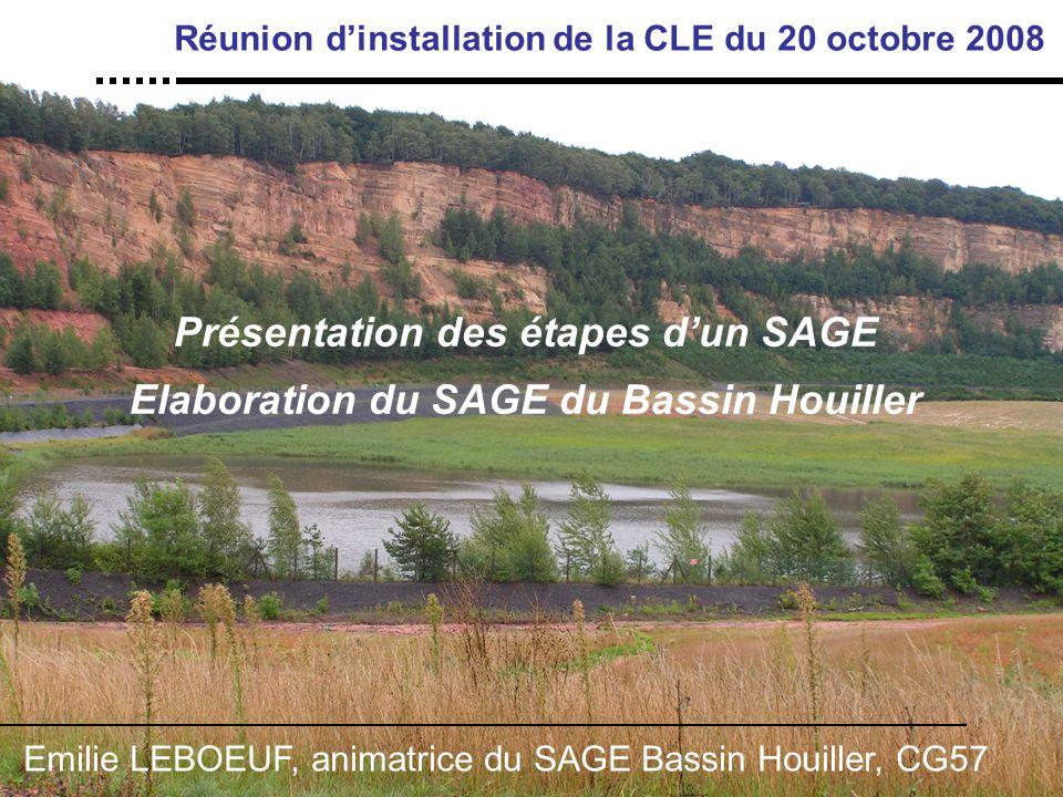 Présentation des étapes d'un SAGE Elaboration du SAGE du Bassin Houiller Réunion d'installation de la CLE du 20 octobre 2008 Emilie LEBOEUF, animatrice du SAGE Bassin Houiller, CG57