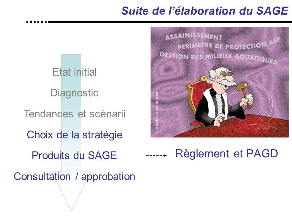 Suite de l'élaboration du SAGE Règlement et PAGD Etat initial Diagnostic Tendances et scénarii Choix de la stratégie Produits du SAGE Consultation / approbation