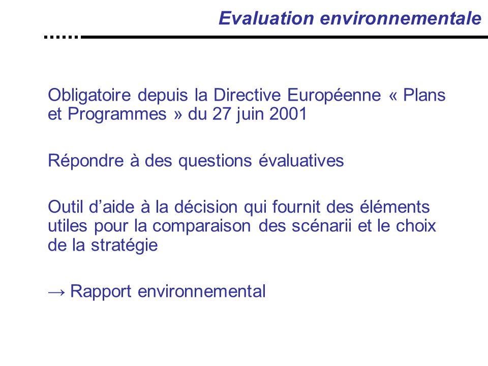 Evaluation environnementale Obligatoire depuis la Directive Européenne « Plans et Programmes » du 27 juin 2001 Répondre à des questions évaluatives Outil d'aide à la décision qui fournit des éléments utiles pour la comparaison des scénarii et le choix de la stratégie → Rapport environnemental