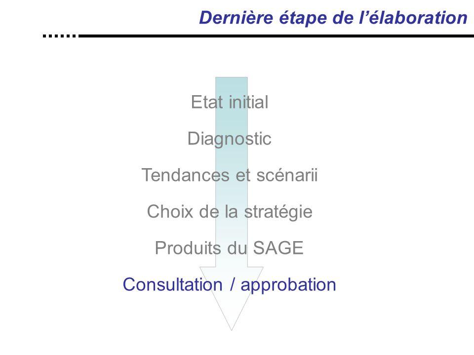Dernière étape de l'élaboration Etat initial Diagnostic Tendances et scénarii Choix de la stratégie Produits du SAGE Consultation / approbation