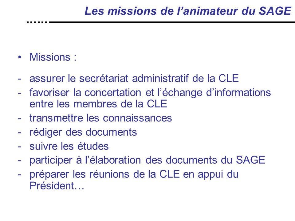 Les missions de l'animateur du SAGE Missions : -assurer le secrétariat administratif de la CLE -favoriser la concertation et l'échange d'informations entre les membres de la CLE -transmettre les connaissances -rédiger des documents -suivre les études -participer à l'élaboration des documents du SAGE -préparer les réunions de la CLE en appui du Président…