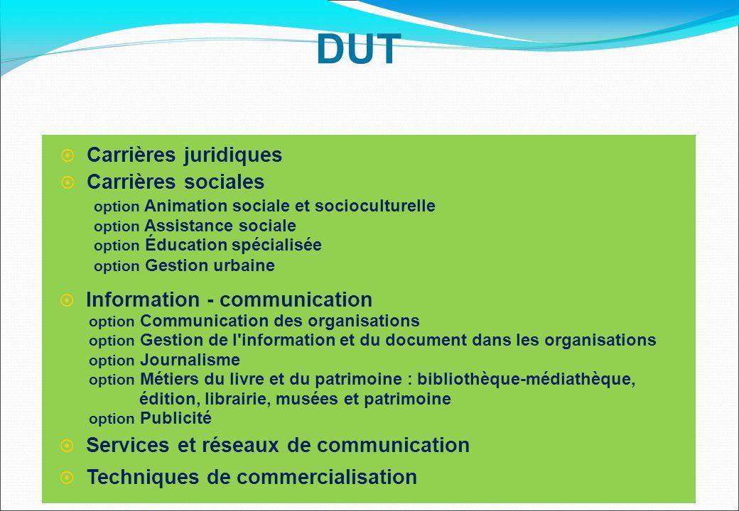  Carrières juridiques  Carrières sociales option Animation sociale et socioculturelle option Assistance sociale option Éducation spécialisée option