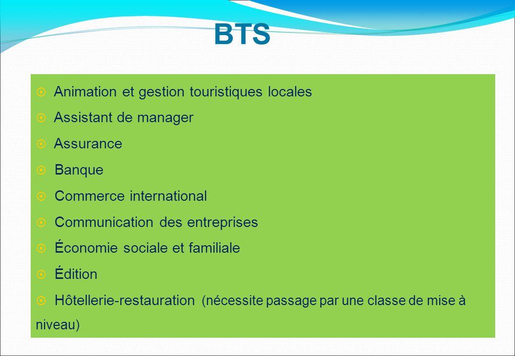  Animation et gestion touristiques locales  Assistant de manager  Assurance  Banque  Commerce international  Communication des entreprises  Éco