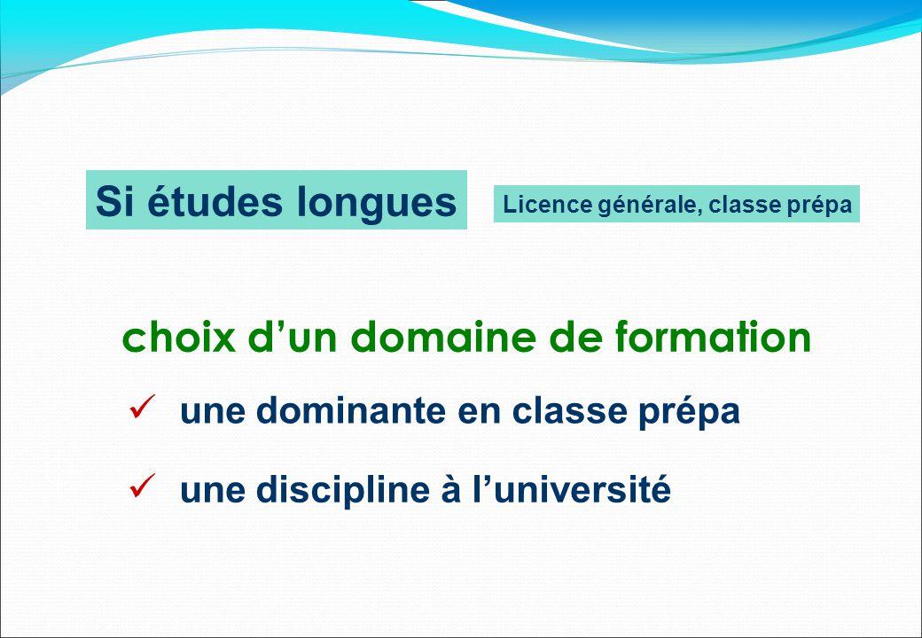 Si études longues choix d'un domaine de formation  une discipline à l'université  une dominante en classe prépa  Licence générale, classe prépa