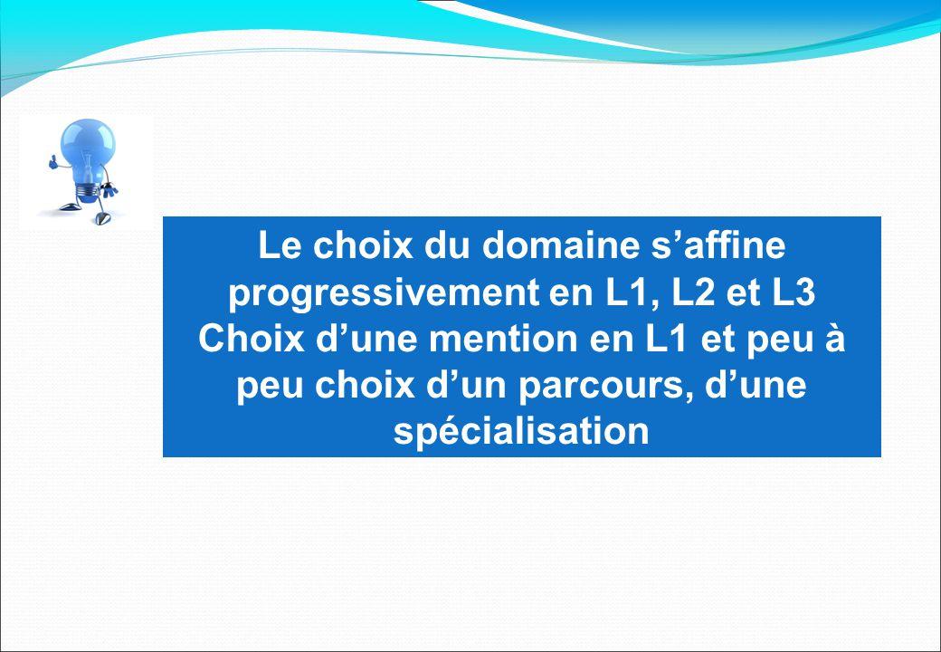 Le choix du domaine s'affine progressivement en L1, L2 et L3 Choix d'une mention en L1 et peu à peu choix d'un parcours, d'une spécialisation