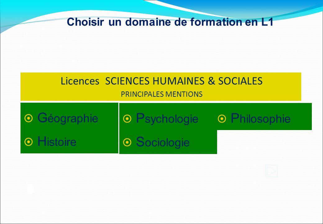 Licences SCIENCES HUMAINES & SOCIALES PRINCIPALES MENTIONS  G éographie  H istoire  P sychologie  S ociologie  P hilosophie Choisir un domaine de