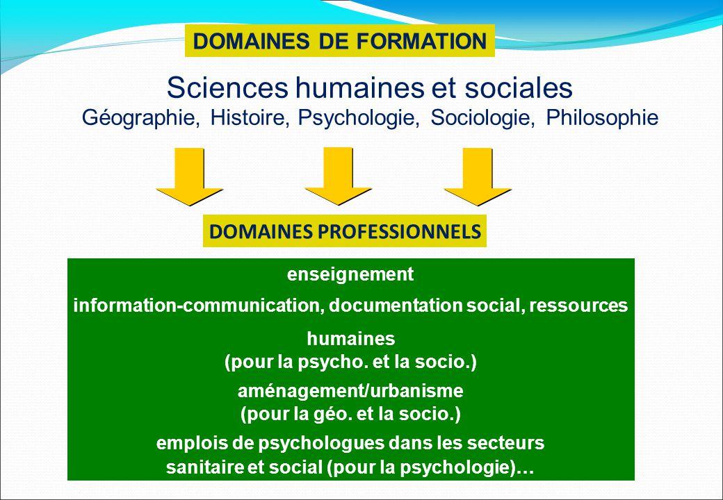 DOMAINES PROFESSIONNELS DOMAINES DE FORMATION Sciences humaines et sociales Géographie, Histoire, Psychologie, Sociologie, Philosophie enseignement in
