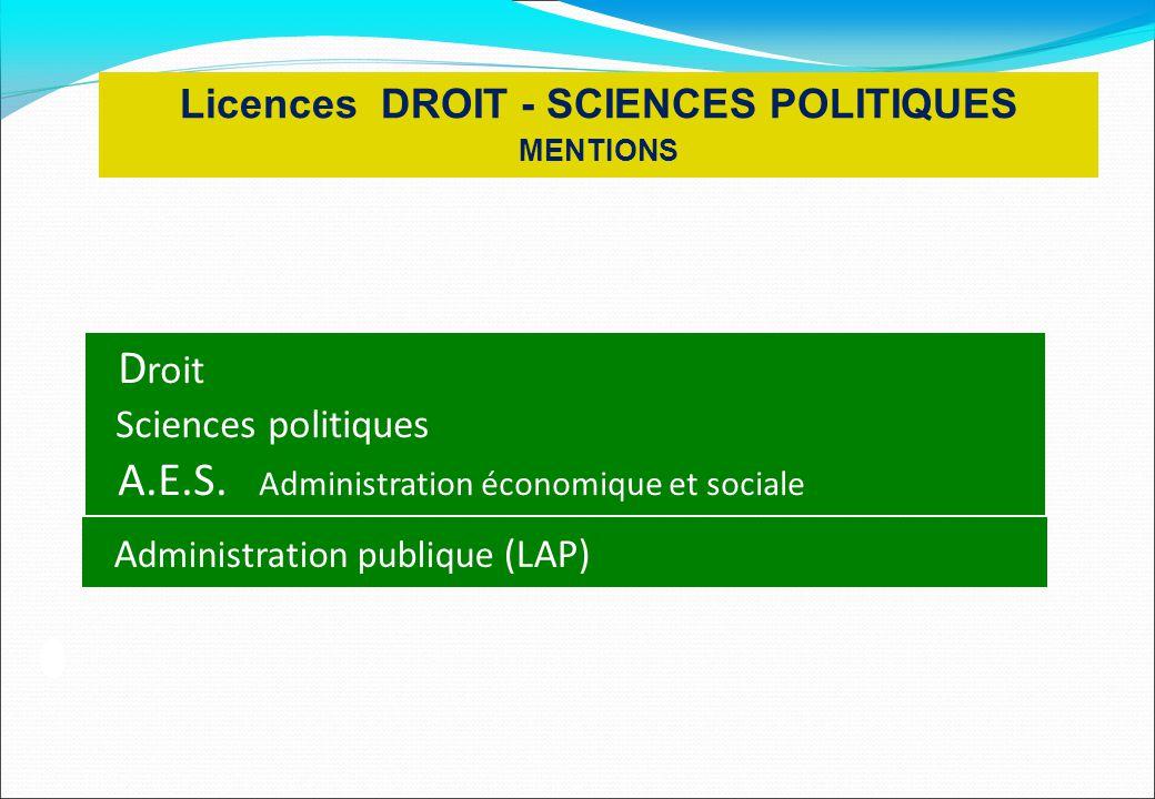 Licences DROIT - SCIENCES POLITIQUES MENTIONS D roit Sciences politiques A.E.S. Administration économique et sociale A dministration publique (LAP)