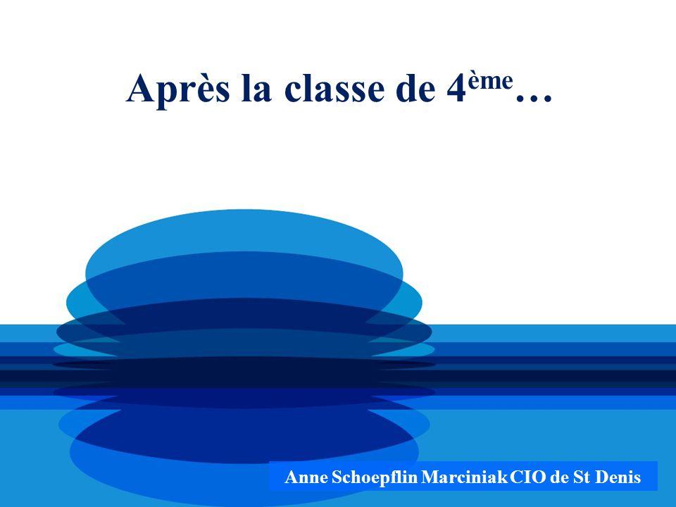 Après la classe de 4 ème … Anne Schoepflin Marciniak CIO de St Denis