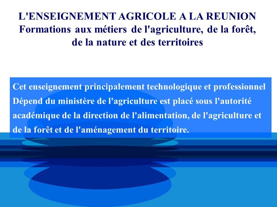 L'ENSEIGNEMENT AGRICOLE A LA REUNION Formations aux métiers de l'agriculture, de la forêt, de la nature et des territoires Cet enseignement principale