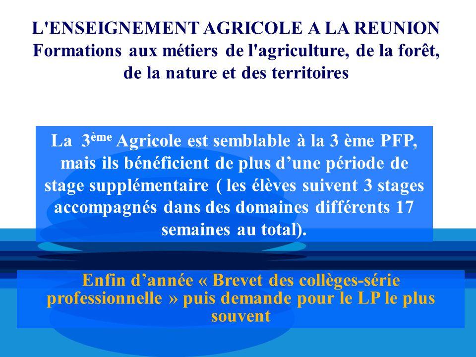 La 3 ème Agricole est semblable à la 3 ème PFP, mais ils bénéficient de plus d'une période de stage supplémentaire ( les élèves suivent 3 stages accom