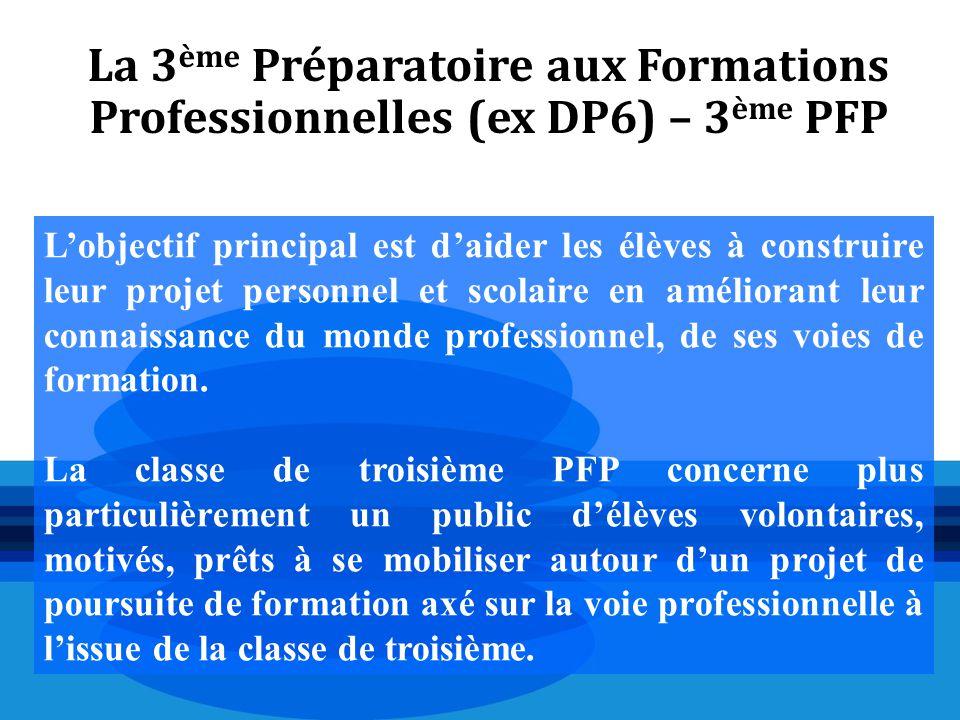 La 3 ème Préparatoire aux Formations Professionnelles (ex DP6) – 3 ème PFP L'objectif principal est d'aider les élèves à construire leur projet person