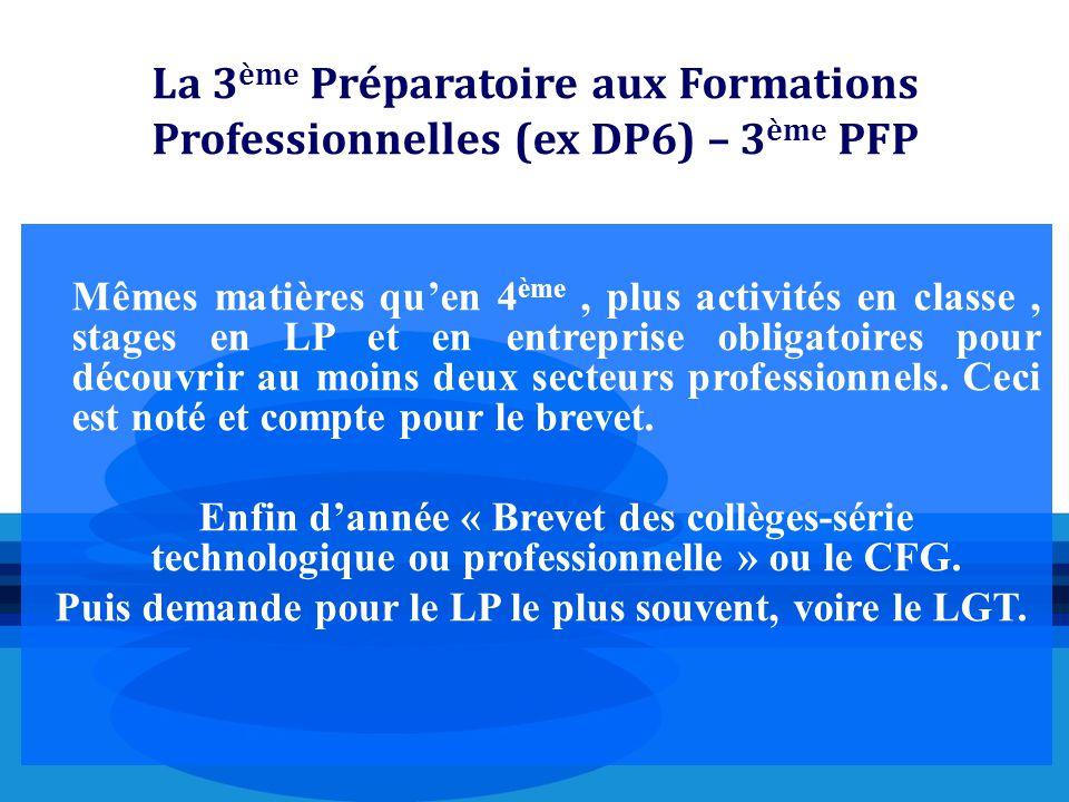 La 3 ème Préparatoire aux Formations Professionnelles (ex DP6) – 3 ème PFP Mêmes matières qu'en 4 ème, plus activités en classe, stages en LP et en en