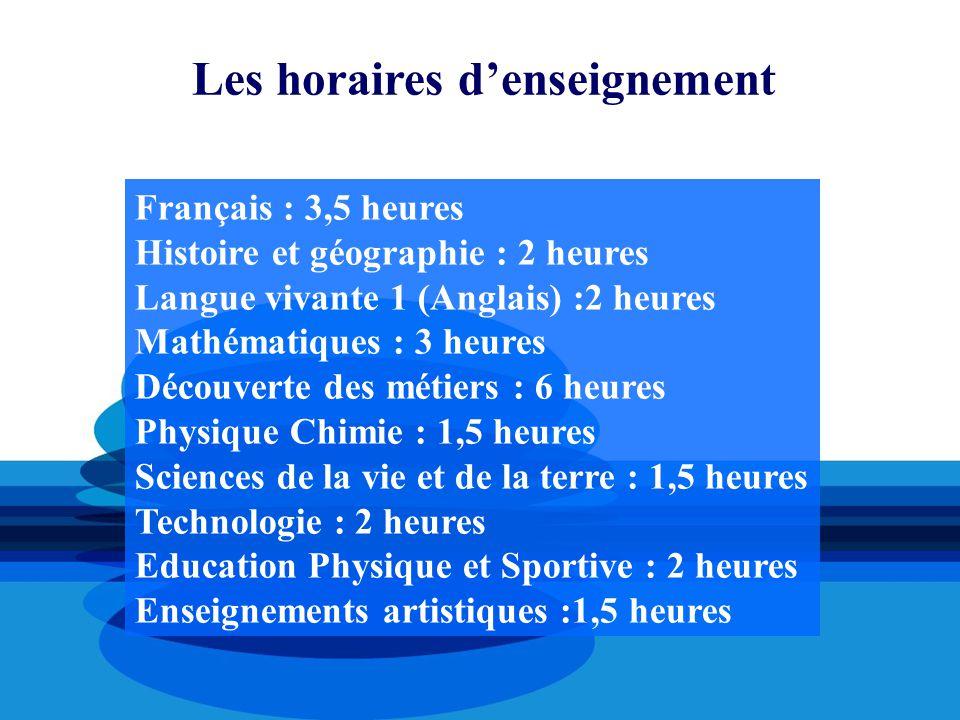 Les horaires d'enseignement Français : 3,5 heures Histoire et géographie : 2 heures Langue vivante 1 (Anglais) :2 heures Mathématiques : 3 heures Déco