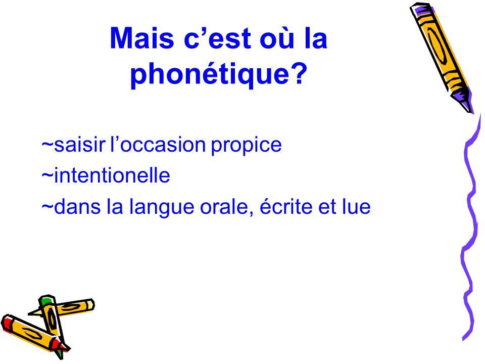 Mais c'est où la phonétique? ~saisir l'occasion propice ~intentionelle ~dans la langue orale, écrite et lue