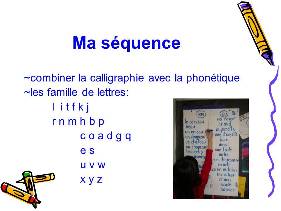 Ma séquence ~combiner la calligraphie avec la phonétique ~les famille de lettres: l i t f k j r n m h b p c o a d g q e s u v w x y z