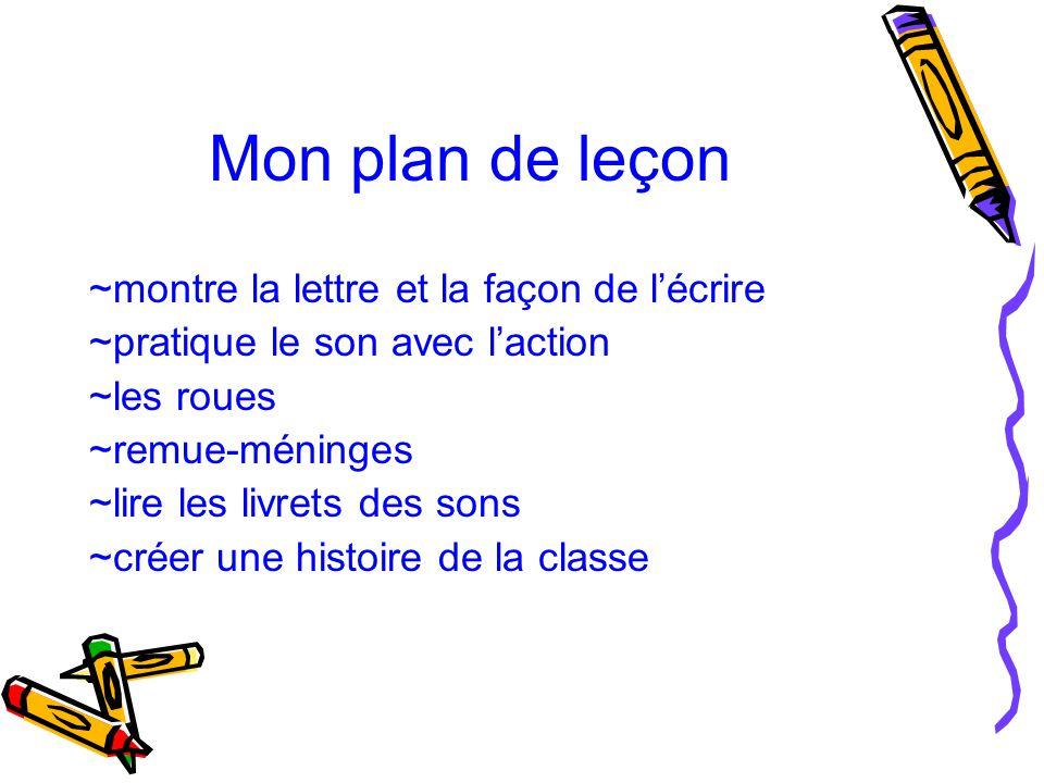 Mon plan de leçon ~montre la lettre et la façon de l'écrire ~pratique le son avec l'action ~les roues ~remue-méninges ~lire les livrets des sons ~crée