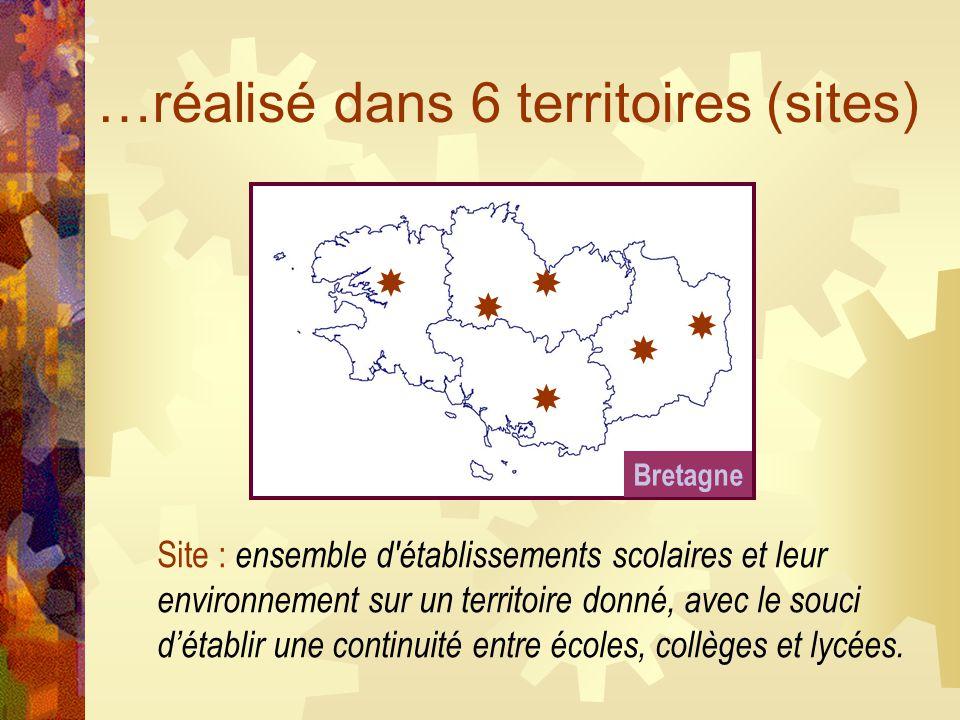 …réalisé dans 6 territoires (sites)       Site : ensemble d établissements scolaires et leur environnement sur un territoire donné, avec le souci d'établir une continuité entre écoles, collèges et lycées.
