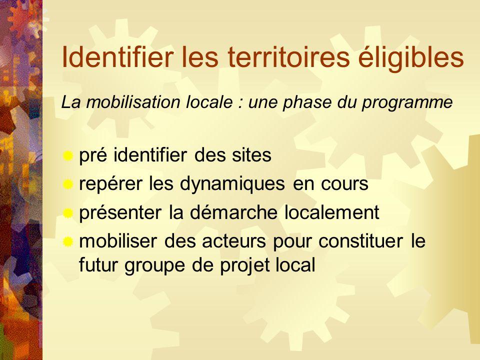 Identifier les territoires éligibles La mobilisation locale : une phase du programme  pré identifier des sites  repérer les dynamiques en cours  présenter la démarche localement  mobiliser des acteurs pour constituer le futur groupe de projet local