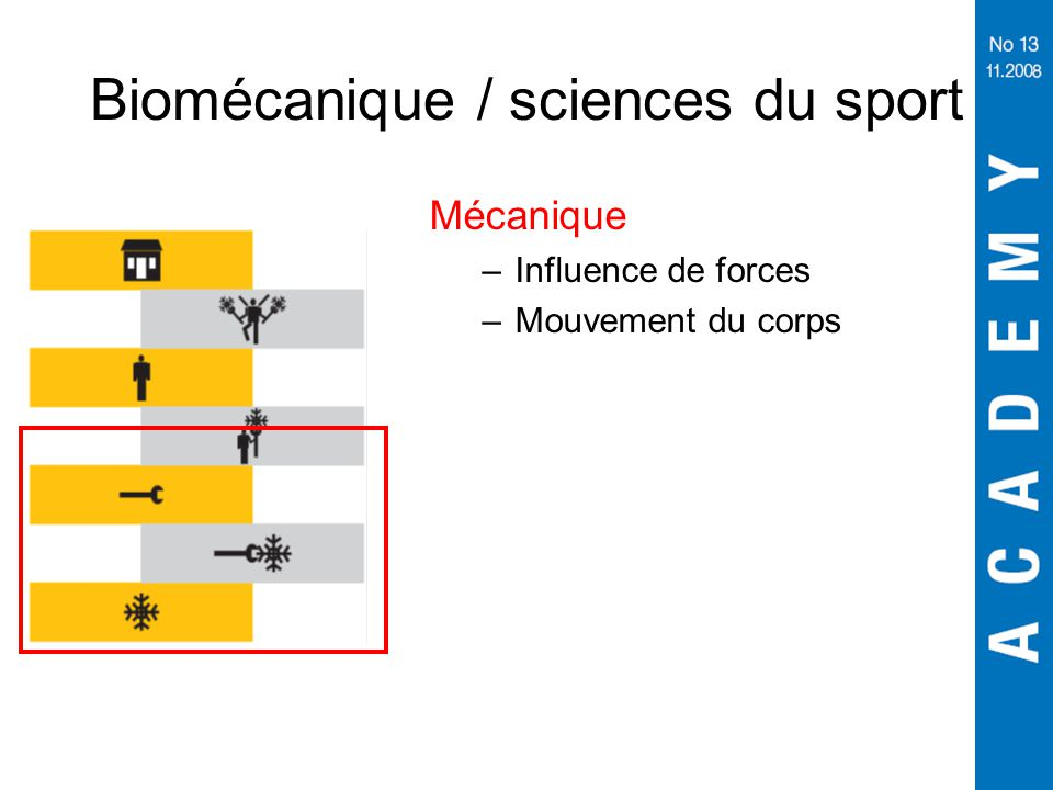Biomécanique / sciences du sport Mécanique –Influence de forces –Mouvement du corps