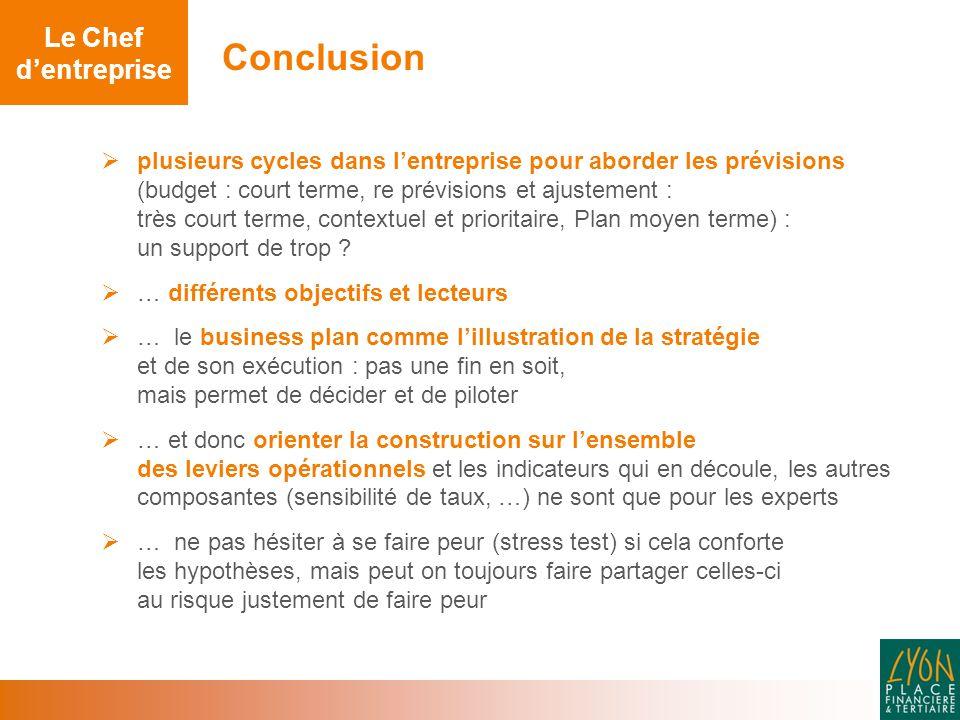 Conclusion  plusieurs cycles dans l'entreprise pour aborder les prévisions (budget : court terme, re prévisions et ajustement : très court terme, contextuel et prioritaire, Plan moyen terme) : un support de trop .