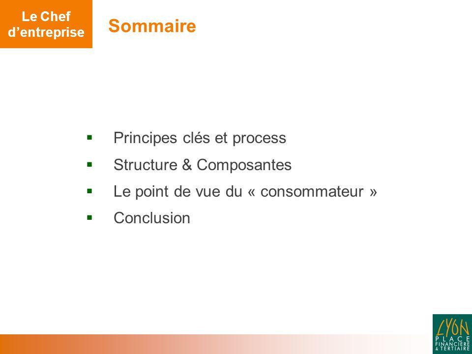  Principes clés et process  Structure & Composantes  Le point de vue du « consommateur »  Conclusion Sommaire Le Chef d'entreprise